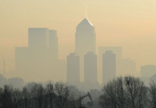 Canary Wharf skyline through fog © Ian Bell